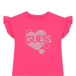 Girls Diamante Heart T-Shirt