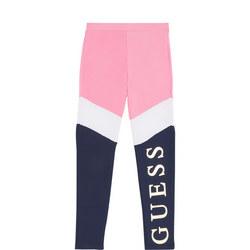 Girls Colour Block Metallic Logo Leggings