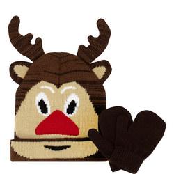 Girls Reindeer Hat and Mittens Set