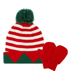 Babies Christmas Stripe Hat and Mittens Set