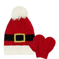 Girls Father Christmas Hat and Mittens Set