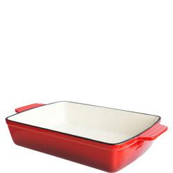 Red Cast Iron Rectangular Dish