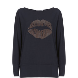 Studded Lips Batwing Top