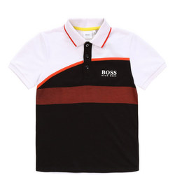 Boys Colour Block Dotted Polo Shirt