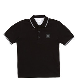 Boys Square Logo Tipped Polo Shirt