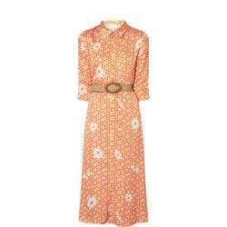 Geomtric Daisy Print Midi Shirt Dress