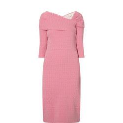 Dotted Slash Neck Dress