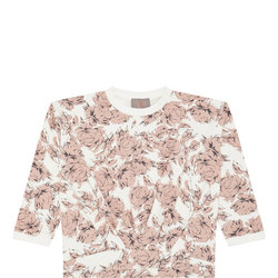 Girls Floral Pleated Sweat Top