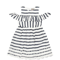 Girls Striped Lace Detail Dress