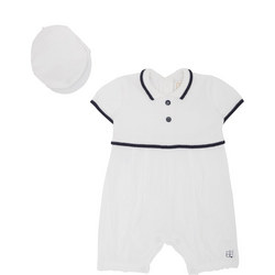 Babies Shaw Knitted Linen Playsuit And Hat Set