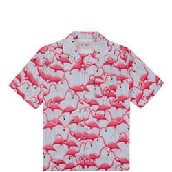 Flamingo Print Short Sleeve Shirt