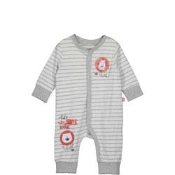Babies Striped Lion Print Romper