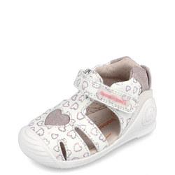 Girls Glitter Heart Velcro Shoes