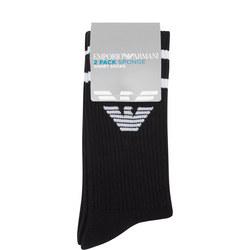 Two-Pack Ribbed Logo Socks