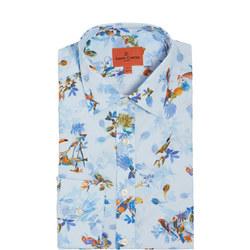 Tropical Bird Print Formal Shirt
