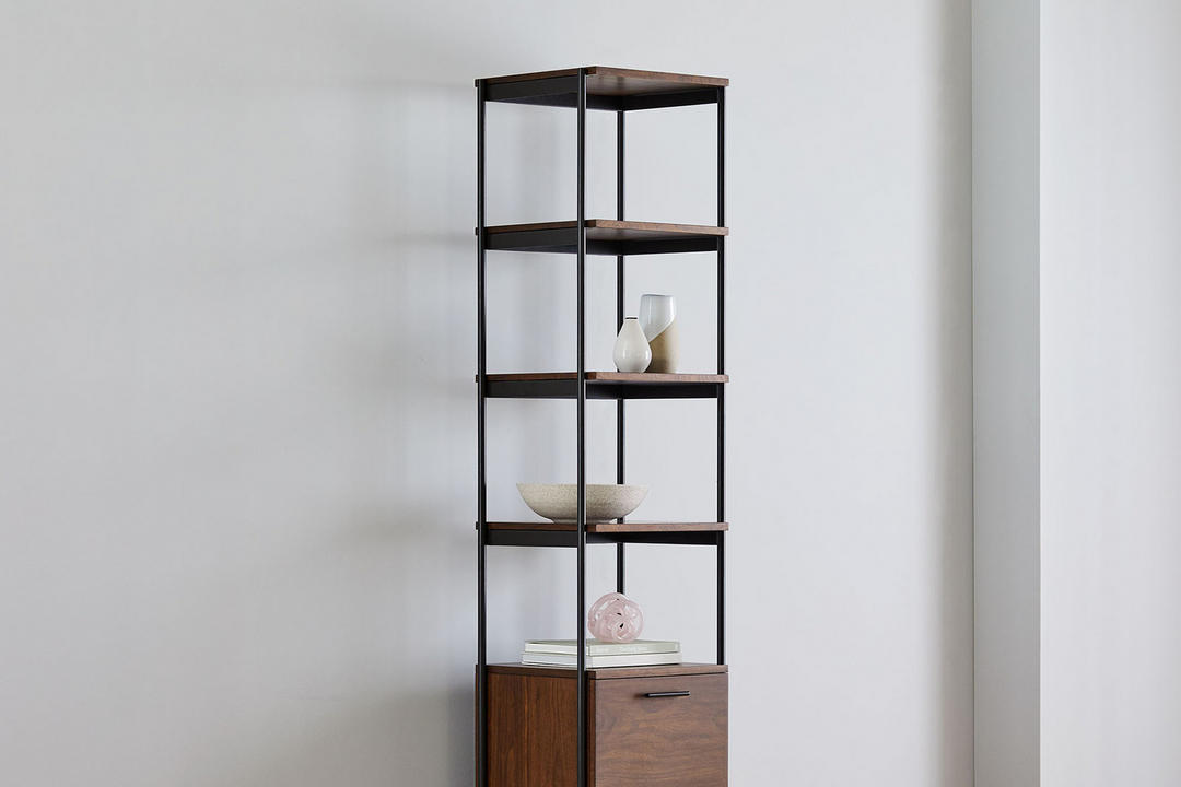 Foundry 43cm Narrow Bookcase Dark Walnut