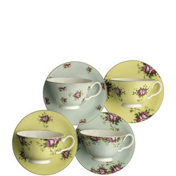 Archive Rose Teacups And Saucers Set of 4