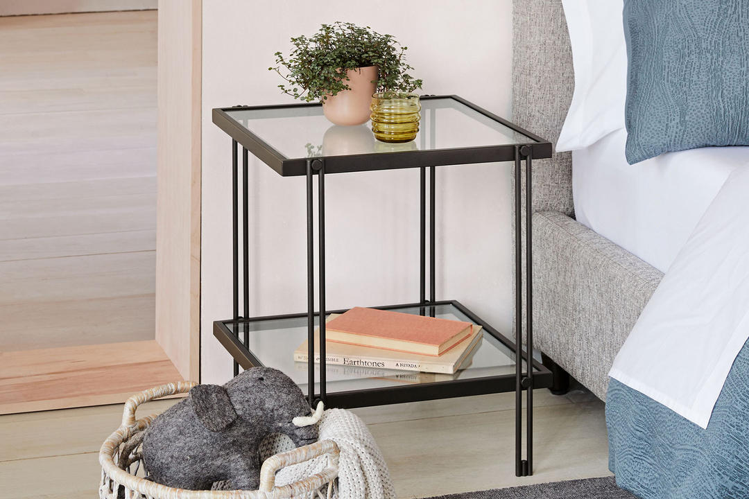Fulton Side Table Glass And Antique Bronze