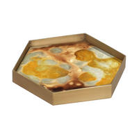 Organic Hex Mini Glass Tray, Yellow Finish 20538