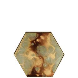 Organic Hex Mini Glass Tray, Moss Finish 20539