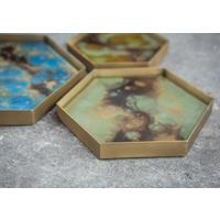 Organic Hex Mini Glass Tray, Teal Finish 20540