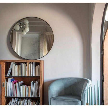 Clear Round Mirror, Light Aged 20604