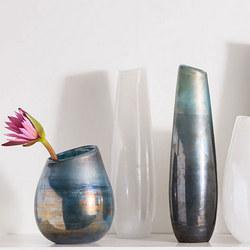 Tall Narrow Lustre Curve Vase
