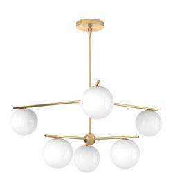 Sphere & Stem Chandelier Brass/Milk Glass 6-Light