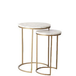 Round Nesting Side Table Marble/Antique Brass