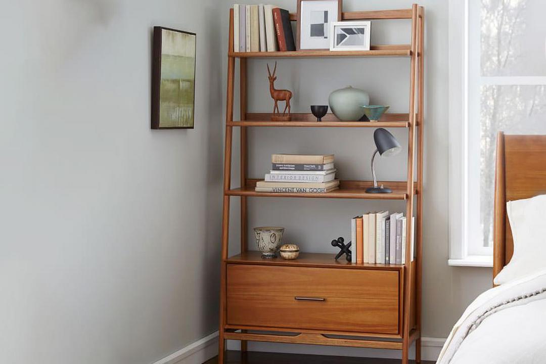 Mid Century Bookshelf - Wide Tower Acorn