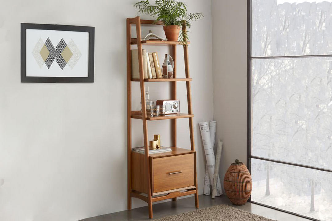 Mid Century Bookshelf - Narrow Tower Acorn