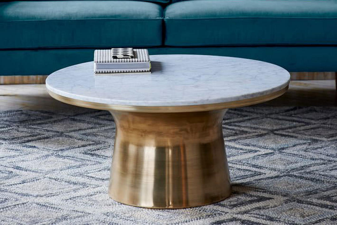 Marble Topped Pedestal Coffee Table Marble/Antique Brass