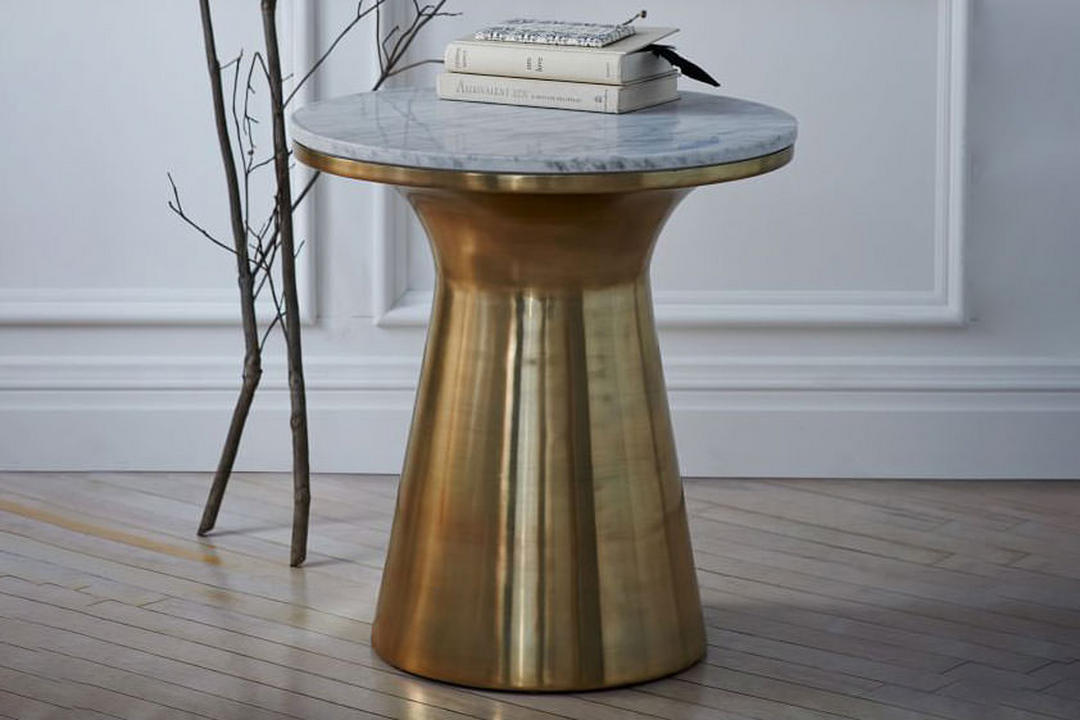 Marble Topped Pedestal Side Table Marble/Antique Brass