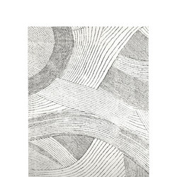 Ribbon Waves Wool Rug Ivory 152 x 244 cm White