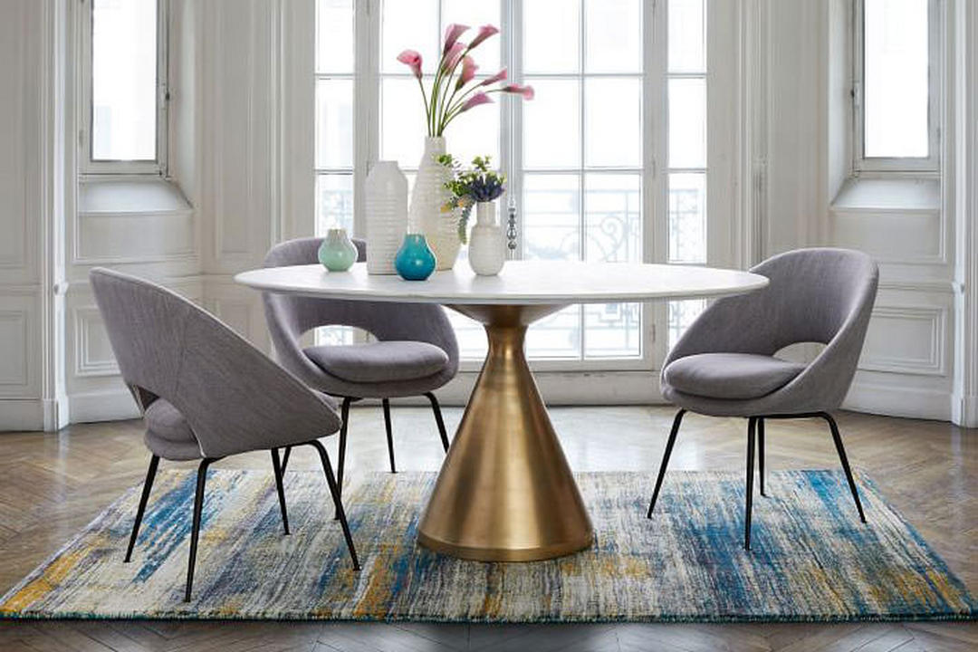 Swell Orb Dining Chair Yarn Dyed Linen Weave Pumice Gmtry Best Dining Table And Chair Ideas Images Gmtryco