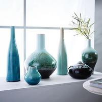 Reactive Glaze Vase Low Wide Moss
