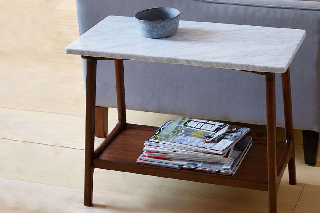 huge discount c30b7 8eafe Reeve Side Table Long Narrow Marble/Walnut