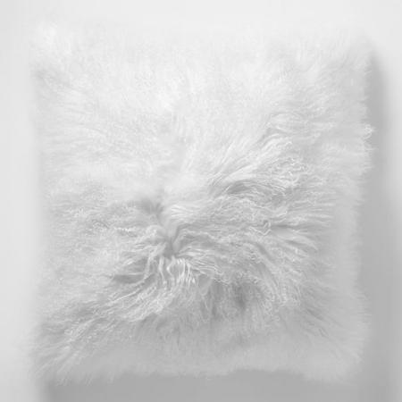 Mongolian Lamb Cushion Cover 41 cm x 41 cm Stone White