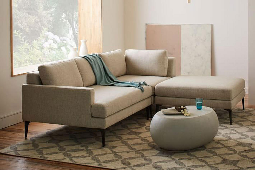 Andes Sectional Left Sofa & Corner & Footstool Twill/Stone