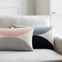 Embroidered Semi Circle Cushion Cover 30 x 53 cm Shadow Blue