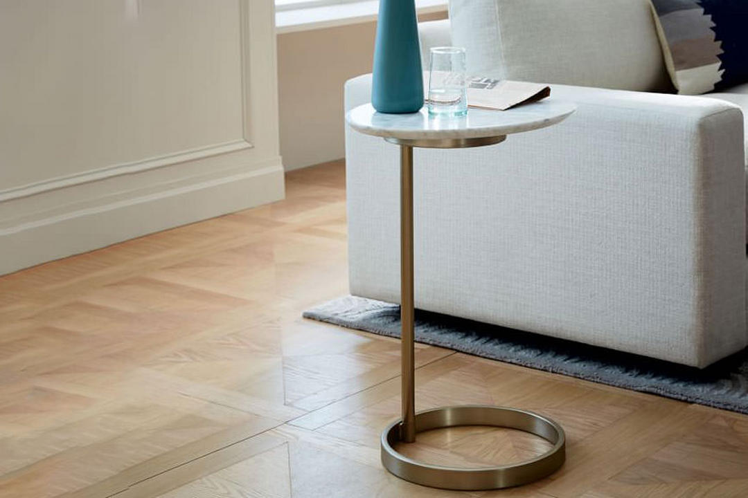 detailed look 187f2 d6bf2 Ring C-Side Table Carrara Marble / Light Bronze