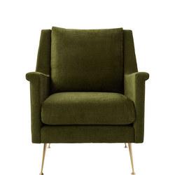 Carlo Mid-Century Chair Worn Velvet Olive Brass Legs