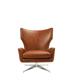 Hemming Leather Swivel Arm Chair Saddle