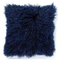 Mongolian Lamb Cushion Cover 41sq cm Velvet Ink
