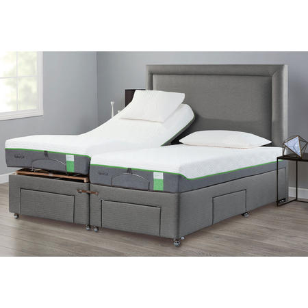 Moulton Adjustable Divan Base with Foot and Side Drawers Tweed Grey