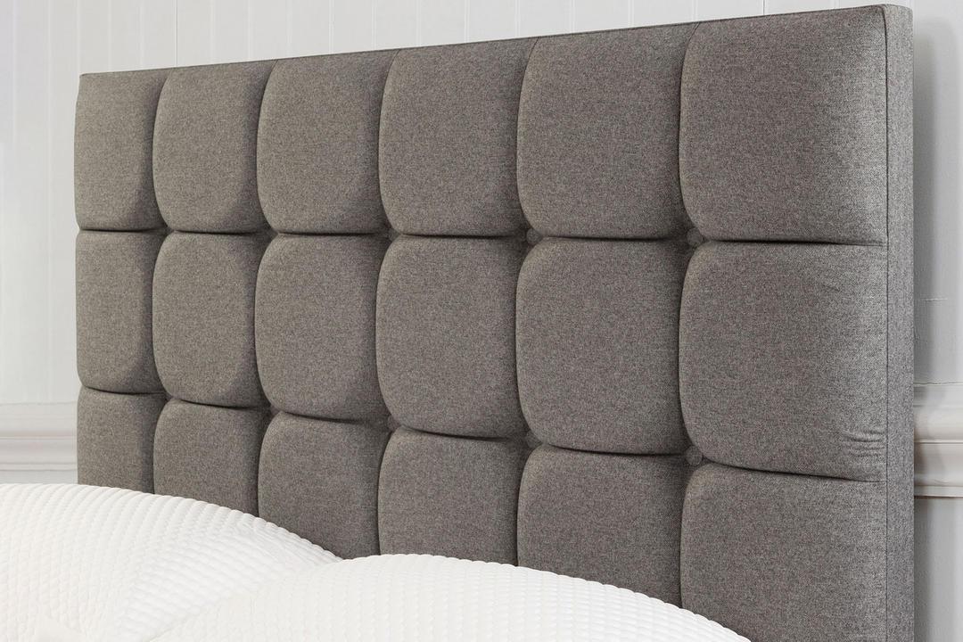 Moulton Buttoned Headboard Tweed Grey
