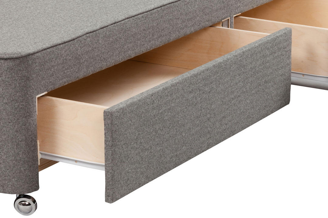 Moulton Continental Drawer Divan Base Tweed Grey