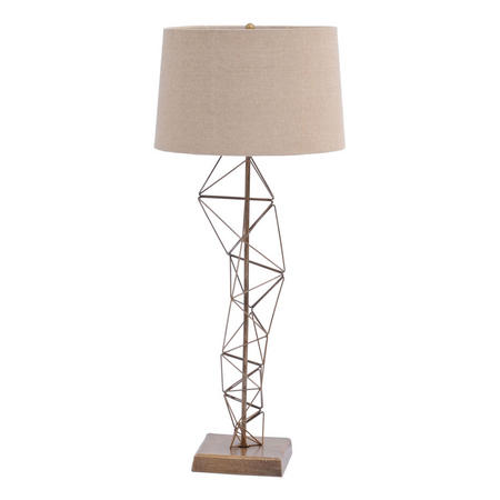 Renzo Antique Brass Table Lamp Beige