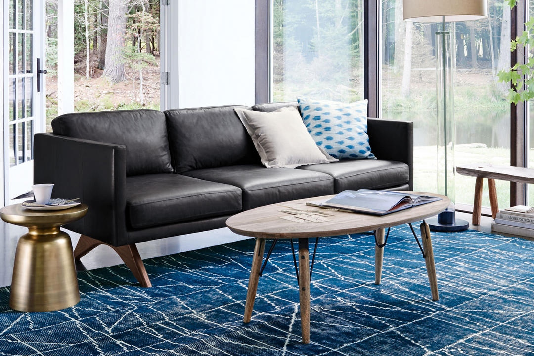 West Elm Brooklyn Leather Sofa 205 Cm
