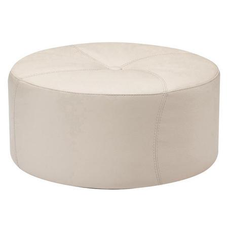 A921 Gaia Round Leather Ottoman Beige